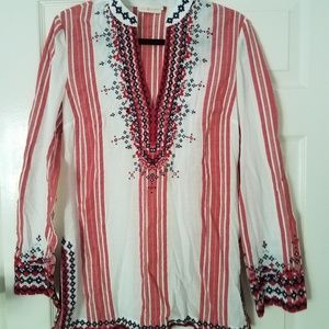 Tory Burch Caprice Tunic Red & White & Embroidery